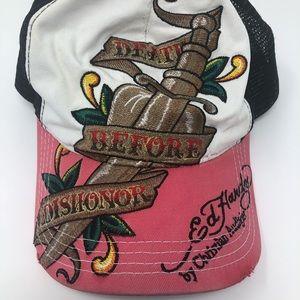 Ed Hardy Distressed Trucker Snapback Hat